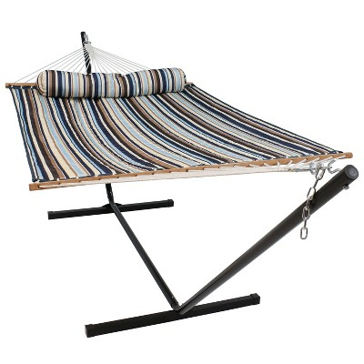 Sunnydaze 2-Person Freestanding Quilted Fabric Spreader Bar Hammock with Stand and Detachable Pillow - 350 lb Weight Capacity/12' Stand - Ocean Isle