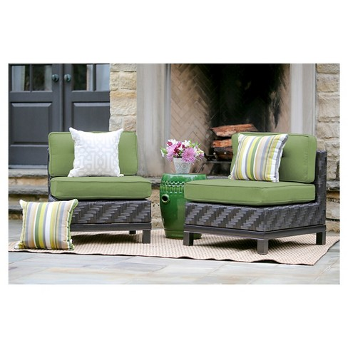Rachel Pair of Armless Chairs with Sunbrella Fabric Spectrum - Cilantro - image 1 of 2