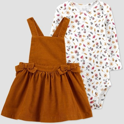 Baby Girls' Bows Skirtall Top & Bottom Set - Just One You® made by carter's Brown Newborn