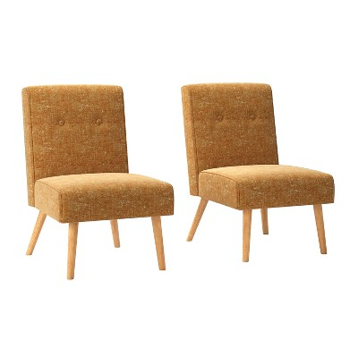 Set of 2 Webster Button Tufted Armless Chair Textured Chenille Orange - Handy Living