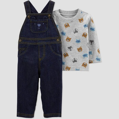 Baby Boys' Bear Denim Top & Bottom Set - Just One You® made by carter's Gray/Blue 9M