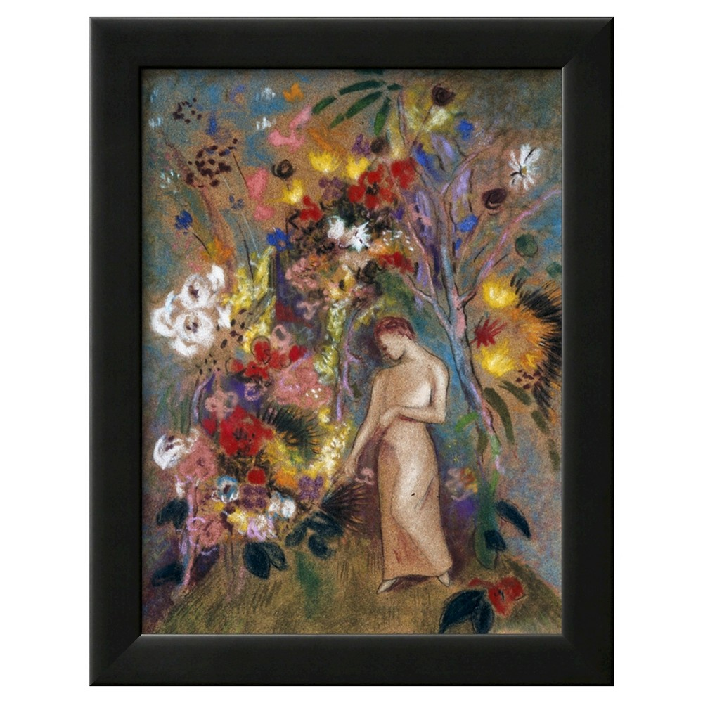 Art.com Woman in Flowers, 1904 by Odilon Redon - Framed Art Print, Black