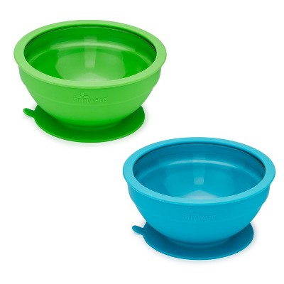 14.8oz 2pk Glass and Silicone Baby Bowls Blue/Green - Brinware