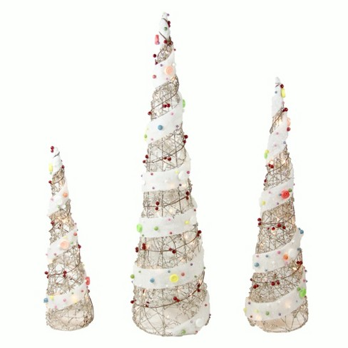 "Northlight Set of 3 Lighted Champagne Gold Rattan Candy Covered Cone Tree Outdoor Christmas Decorations 39.25"" - image 1 of 1"