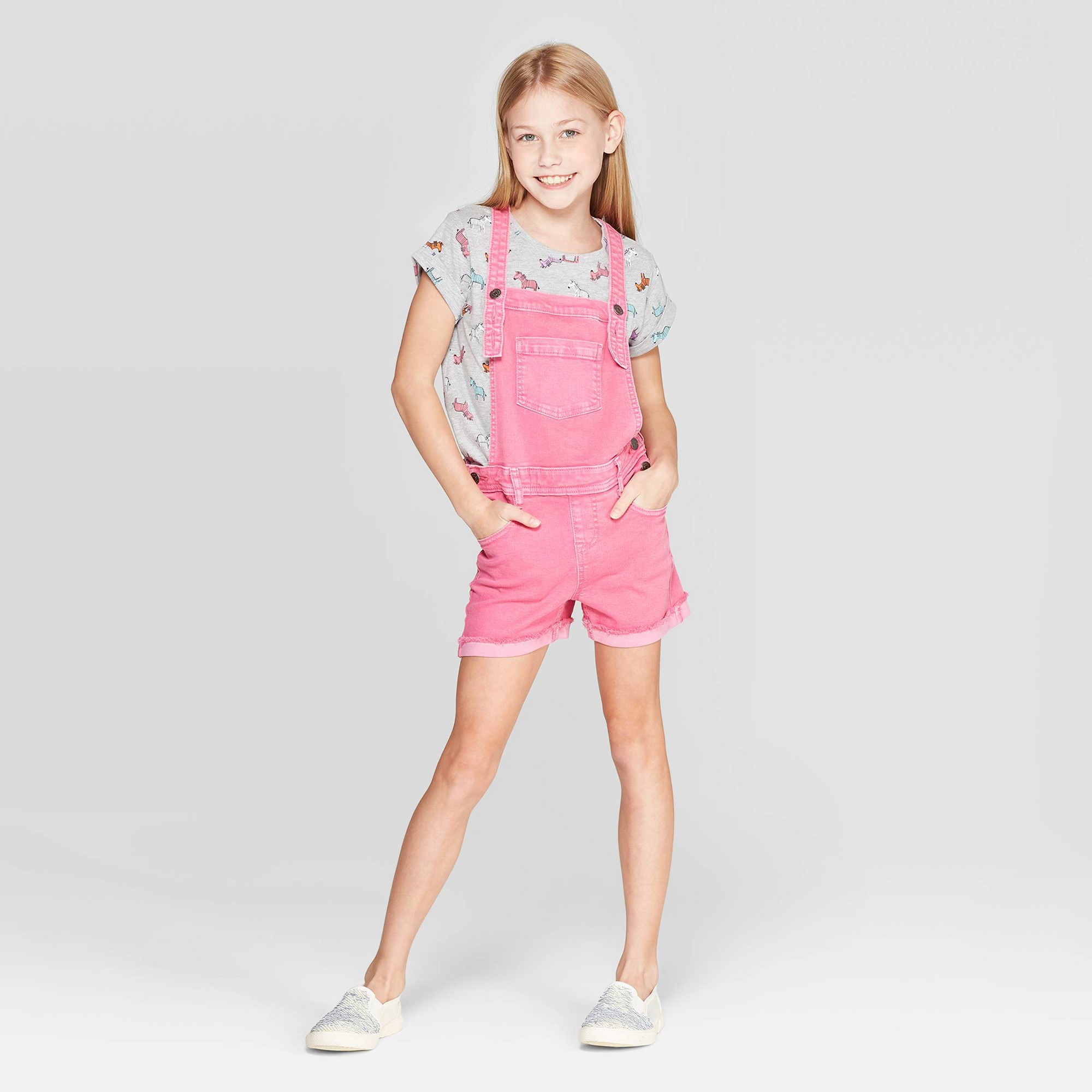 Girls' Jean Shortalls - Cat & Jack Magenta Xxl, Pink