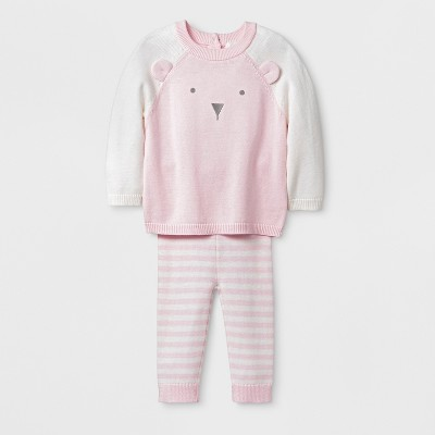 Baby Girls' Bear Top and Bottom Set - Cloud Island™ Pink Newborn