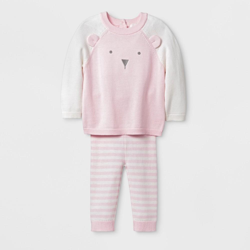 Baby Girls' Bear Top and Bottom Set - Cloud Island Pink 6-9M