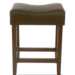 "24"" Rumford Saddle Counter Stool Faux Leather with Wood Leg - Threshold™"