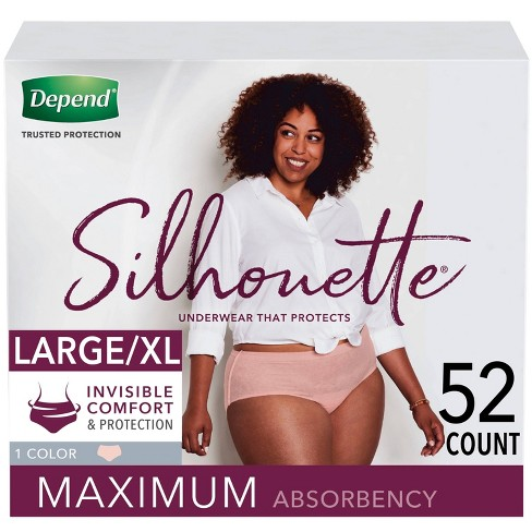 Depend Silhouette Incontinence Underwear for Women - Maximum Absorbency - Large/X-Large - 52ct - Pink - image 1 of 3