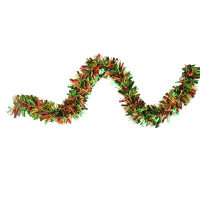 "Northlight 12' x 4"" Unlit Green/Red Wide Cut Tinsel Christmas Garland"
