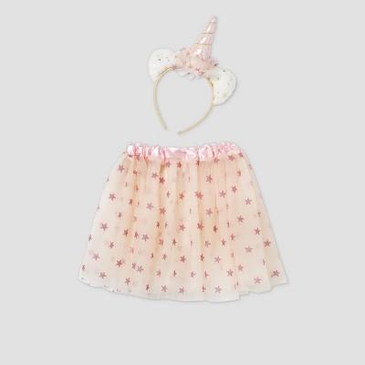 Toddler Girls' Caticorn Halloween Headband & Tutu Set - Cat & Jack™ Beige/Pink
