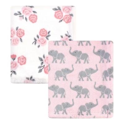 Hudson Baby Infant Girl Cozy Plush Luxury Blankets 2pk, Pink Elephants, One Size