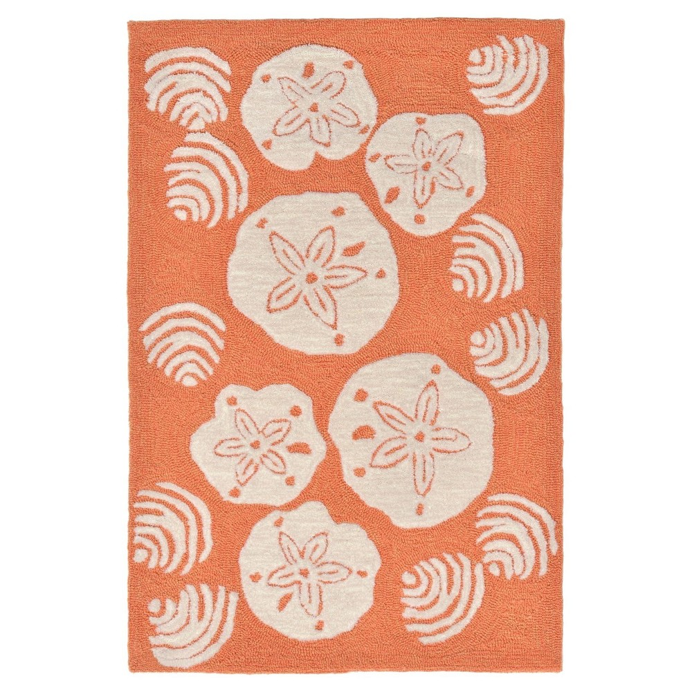 Frontporch Indoor/Outdoor Shell Toss Coral Rug 30