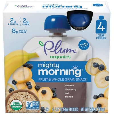 Plum Organics Mighty Morning 4pk Banana Blueberry Oat Quinoa Fruit & Whole Grain Snack Pouches - 12.68oz