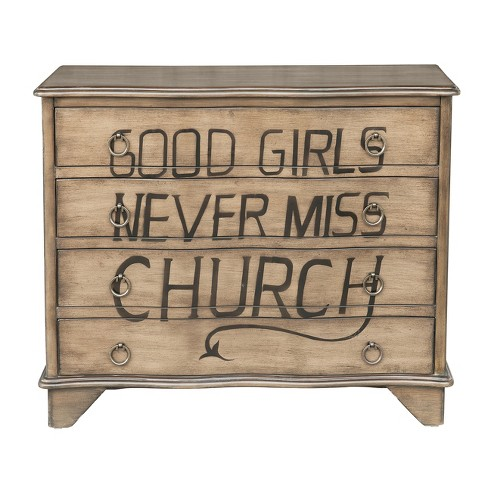 Wilder Traditional Styled Distressed Birch Four Drawer Accent