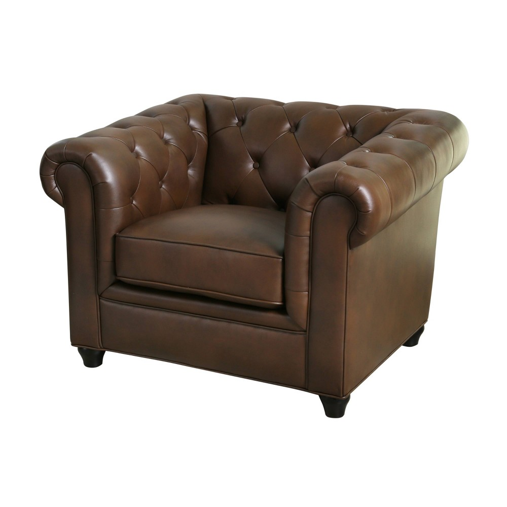 Lincoln Tufted Chesterfield Armchair Brown - Abbyson Living, Camel