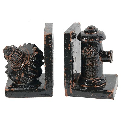 Ceramic Gear and Fire Hydrant Bookend Set - Black