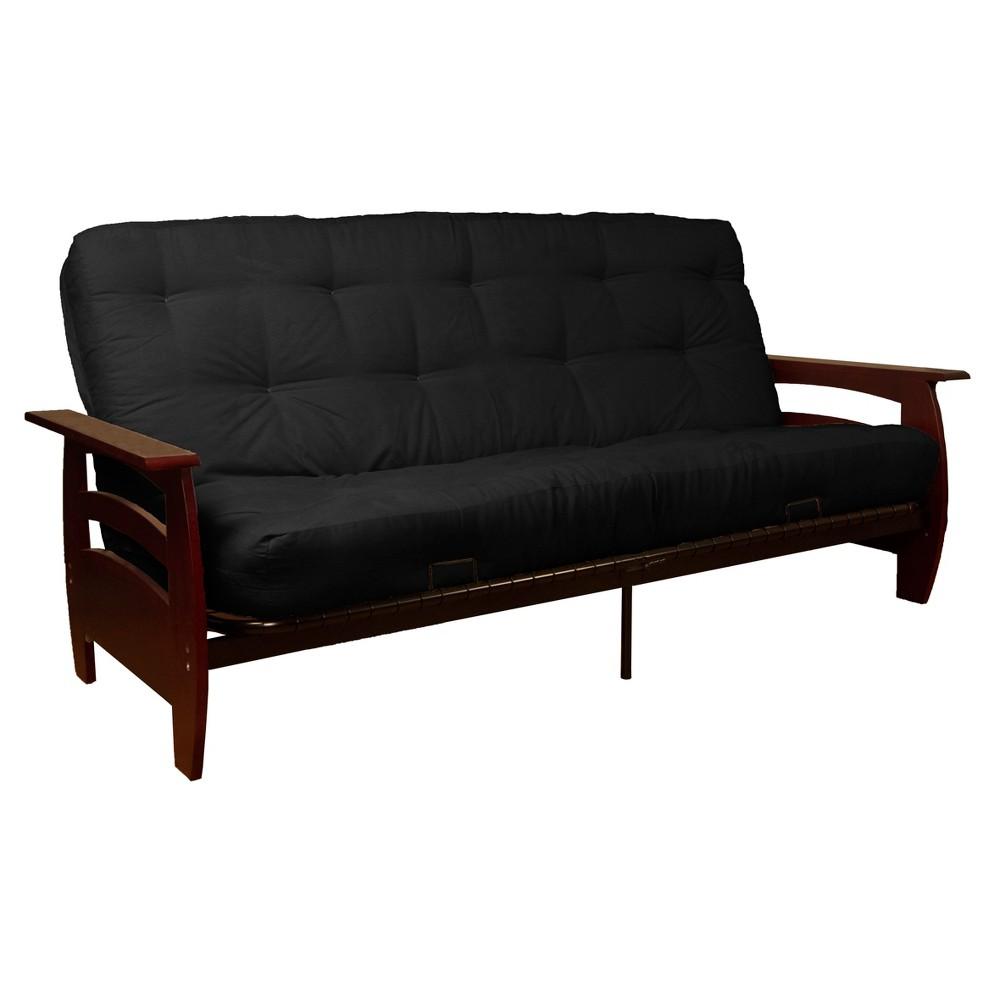 Savannah 8 Inner Spring Futon Sofa Sleeper Mahogany Wood Finish - Epic Furnishings, Matte Black