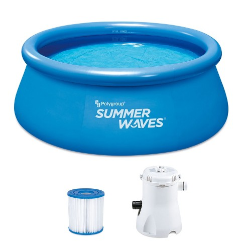 Summer Waves P1000830A156 Quick Set 8ft x 30in Inflatable Ring Round Above Ground Swimming Pool Set with Filter Pump and Type 1 Filter Cartridge - image 1 of 4