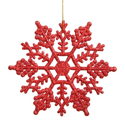 Northlight Club Pack Of 24 Red Glitter Shatterproof Snowflake Christmas Ornaments 4 Target