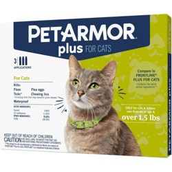 PetArmor Plus Flea and Tick Topical Treatment for Cats - Over 1.5lbs - 3 Month Supply