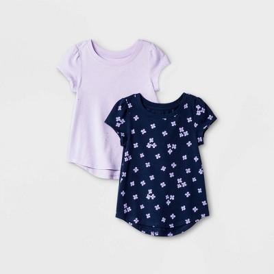 Toddler Girls' 2pk Floral & Sparkle Short Sleeve T-Shirt - Cat & Jack™ Navy/Purple