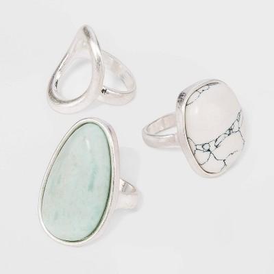 Mixed Semi-Precious Stone Ring Set - Universal Thread™