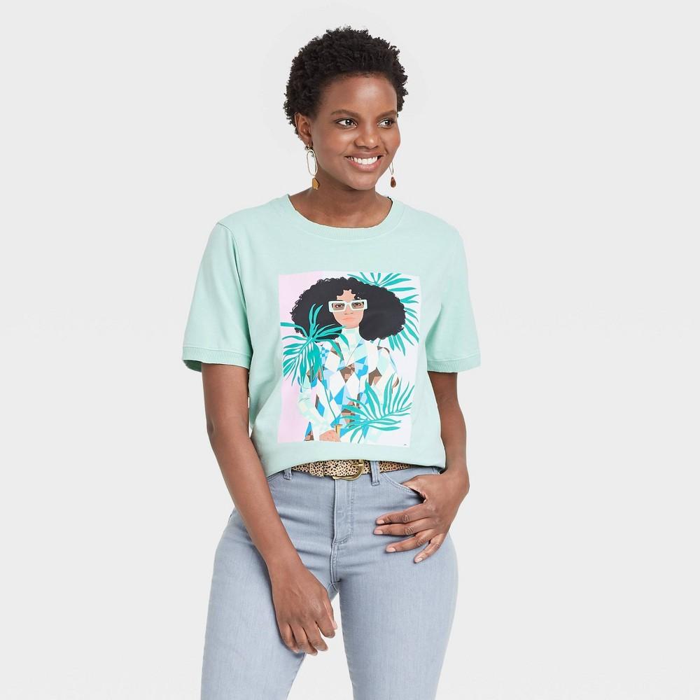 Women 39 S Bijou Karman Palm Leaves Short Sleeve Graphic T Shirt Aqua Xxl