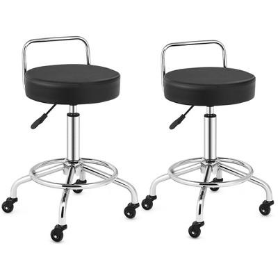 Costway Set of 2 Pneumatic Work Stool Adjustable Swivel Task Chair Lab Spa Office Salon