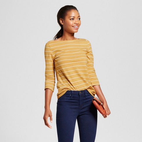 Women's Striped 3/4 Sleeve Boatneck T-Shirt - A New Day™ Gold/White S - image 1 of 3