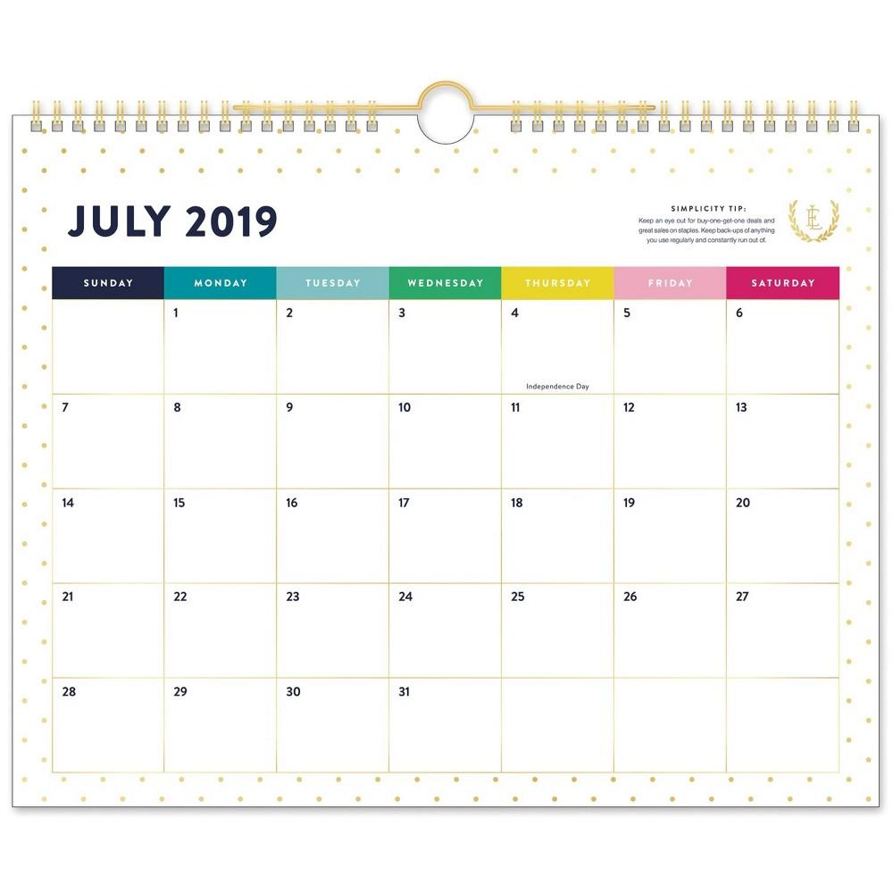 2019-2020 Gold Dot Academic Wall Calendar Gold/White - Emily Ley