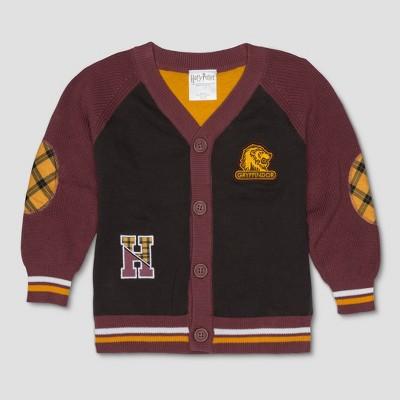 Toddler Boys' Harry Potter Varsity Cardigan Long Sleeve Cardigan - Black 2T