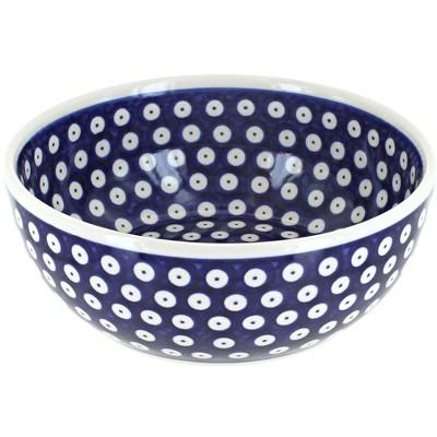 Blue Rose Polish Pottery Dots Large Cereal/Soup Bowl