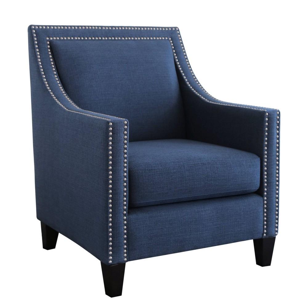 Geneva Nailhead Accent Chair Blue - Abbyson Living