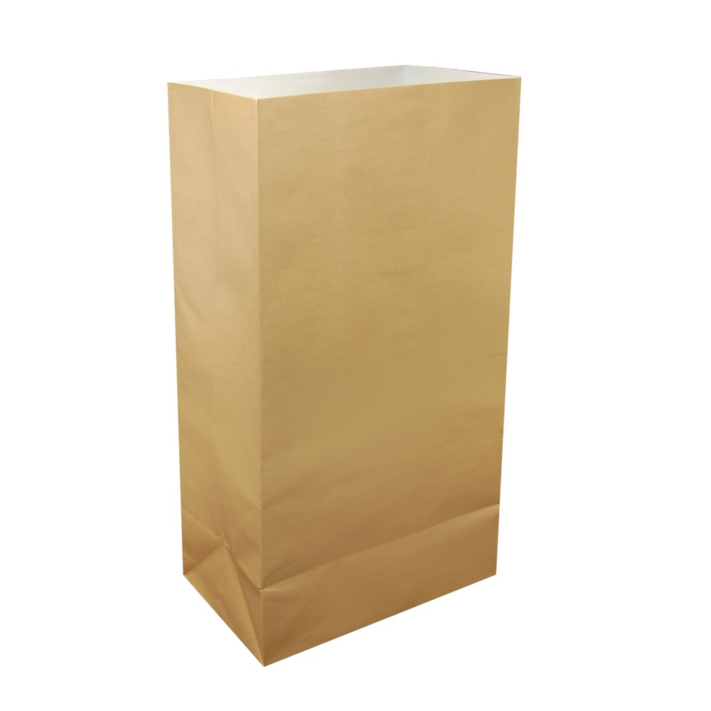 Image of 12ct Flame Resistant Paper Luminaria Bags Beige - LumaBase