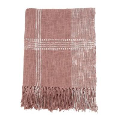 """50""""x70"""" Plaid Cotton Throw Blanket - Saro Lifestyle"""