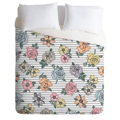 Andi Bird Rosa Duvet Set Blue - Deny Designs