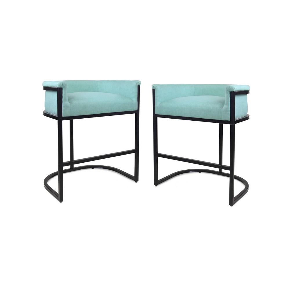 Set of 2 Gunflint Modern Upholstered Barstool Light Blue/Black - Christopher Knight Home was $239.99 now $155.99 (35.0% off)