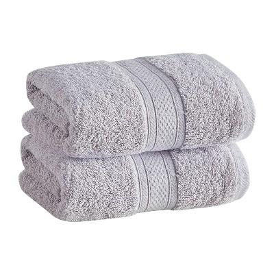 2pk Low Twist Hand Towel Set with Enhanced Microban Light Gray - Cannon