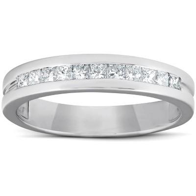 Pompeii3 1/2ct Princess Cut Diamond Mens Wedding Ring 14K White Gold