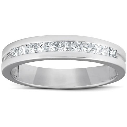 Pompeii3 1/2ct Princess Cut Diamond Mens Wedding Ring 14K White Gold - image 1 of 4