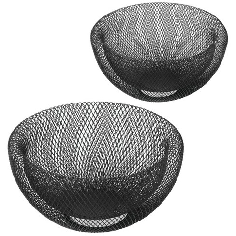 Mdesign Modern Steel Mesh Fruit Bowl Basket Stand For Kitchen Set Of 2 Black Target