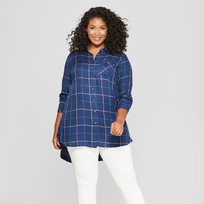 d913134e3 Womens Plus Size Plaid Button-Down Long Sleeve Tunic - Ava & Viv™ Navy