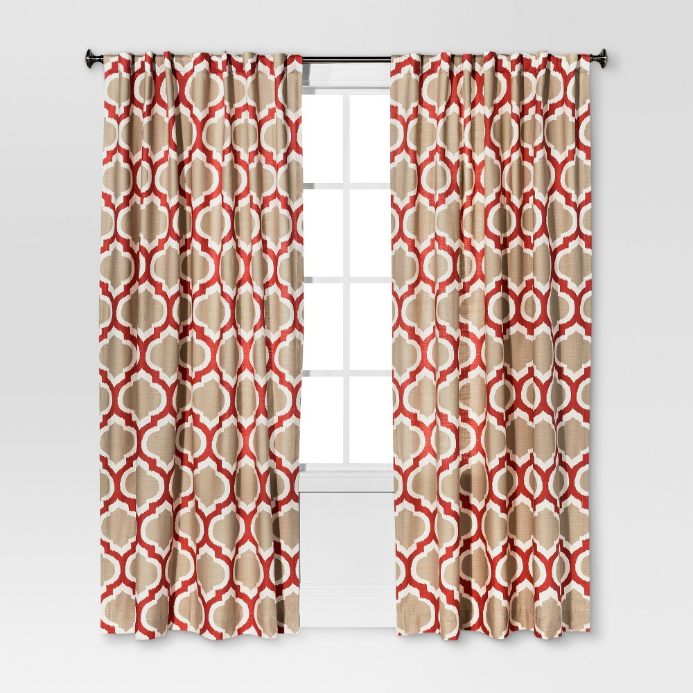 Linen-Look Fretwork Curtain Panel Coral Starfish - Threshold