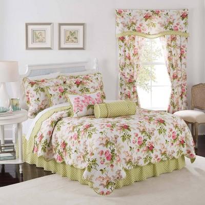 Waverly Emma's Garden 3pc Quilt Set - Green/Pink