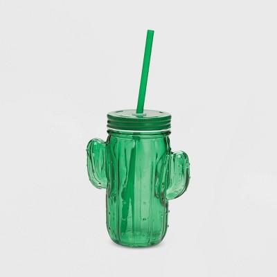 Glass Cactus Mason Jar - Green - Two's Company