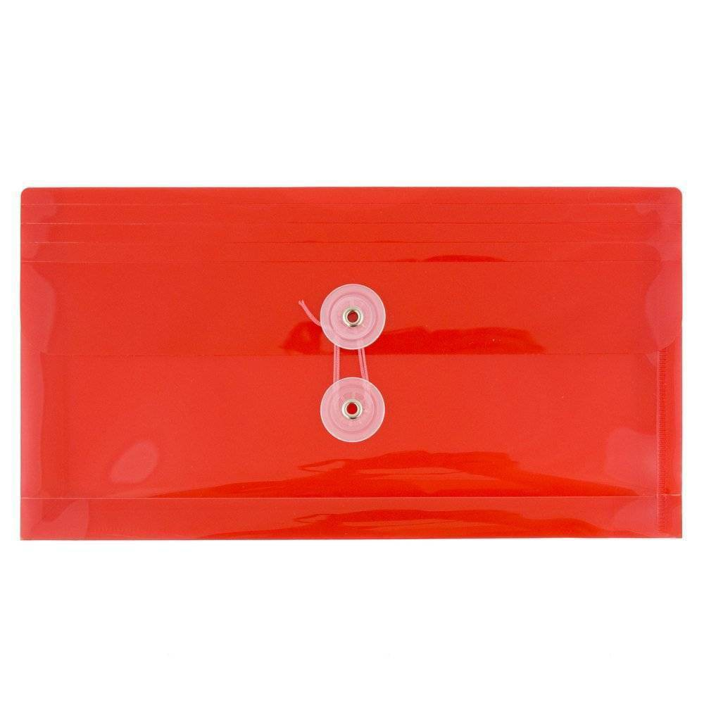 Jam Paper 5 1 4 X 10 12pk Plastic Envelopes With Button And String Tie Closure Red