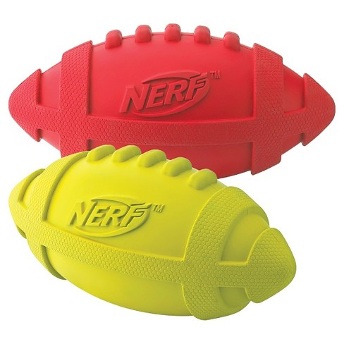 "NERF® 2pk of Squeaker Football Pet Toy - Red/Green - 7"" - image 1 of 1"