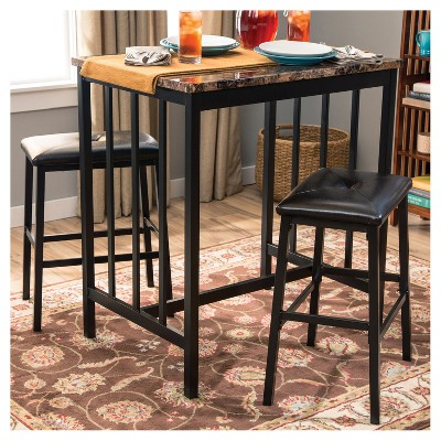 3pc Table & 2 Chairs - Brown - Home Source