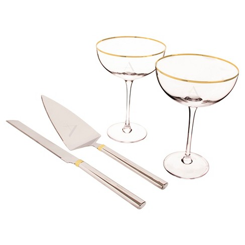 Monogram Gold Rim Coupe Flutes and Cake Serving Set - image 1 of 5